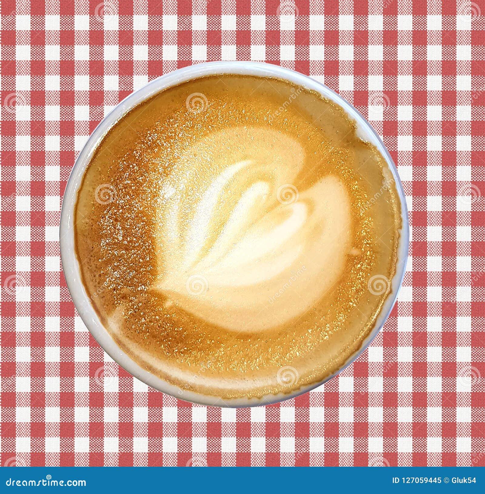 Latte del caffè decorato con la schiuma del latte fatta sotto forma di modello