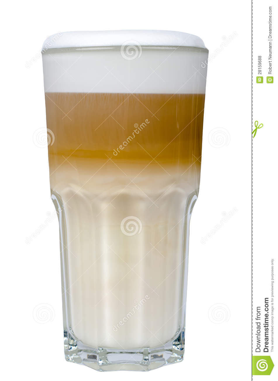 latte macchiato in a glass isolated royalty free stock. Black Bedroom Furniture Sets. Home Design Ideas