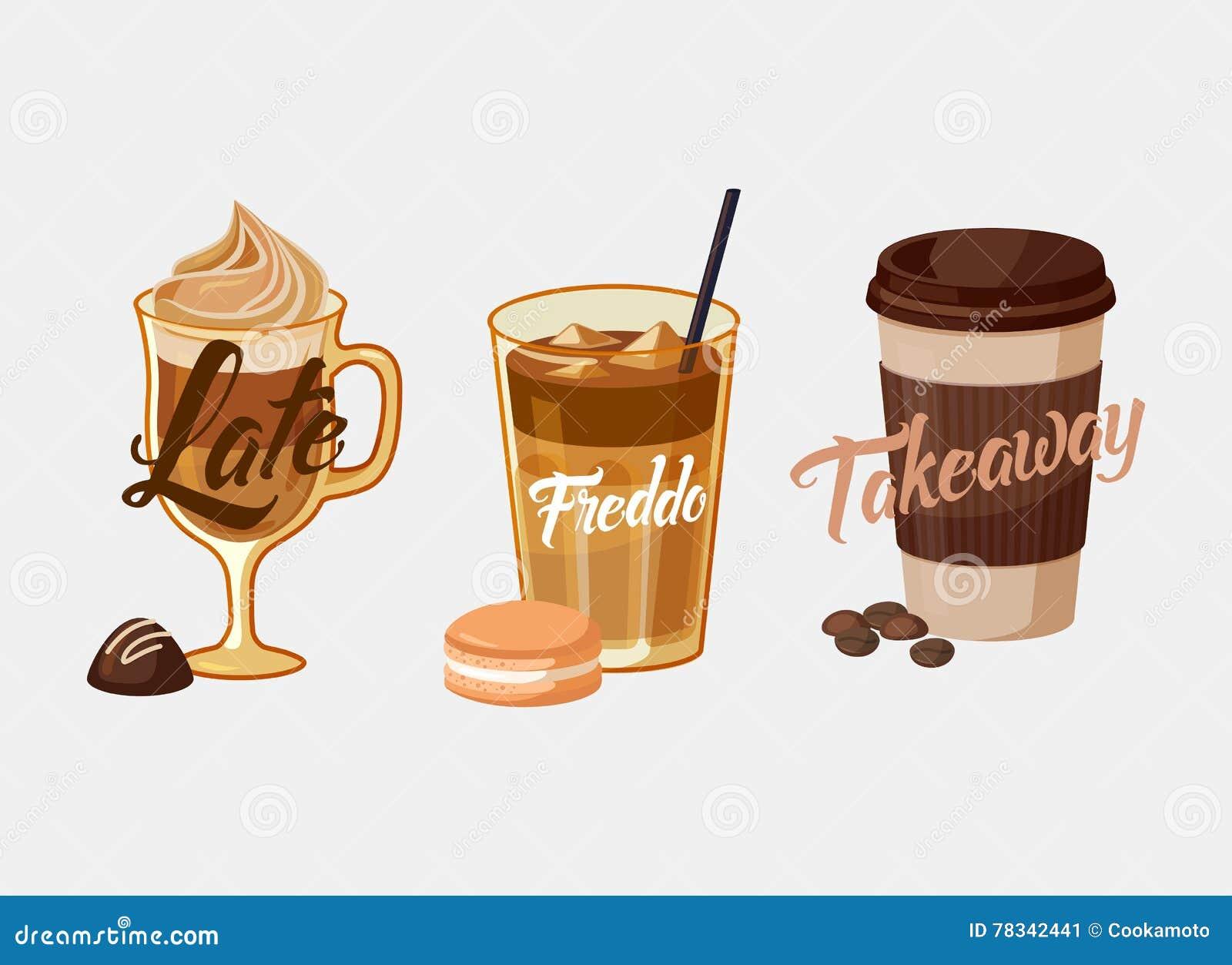 Latte o moca y freddo helados, manga del café de la taza