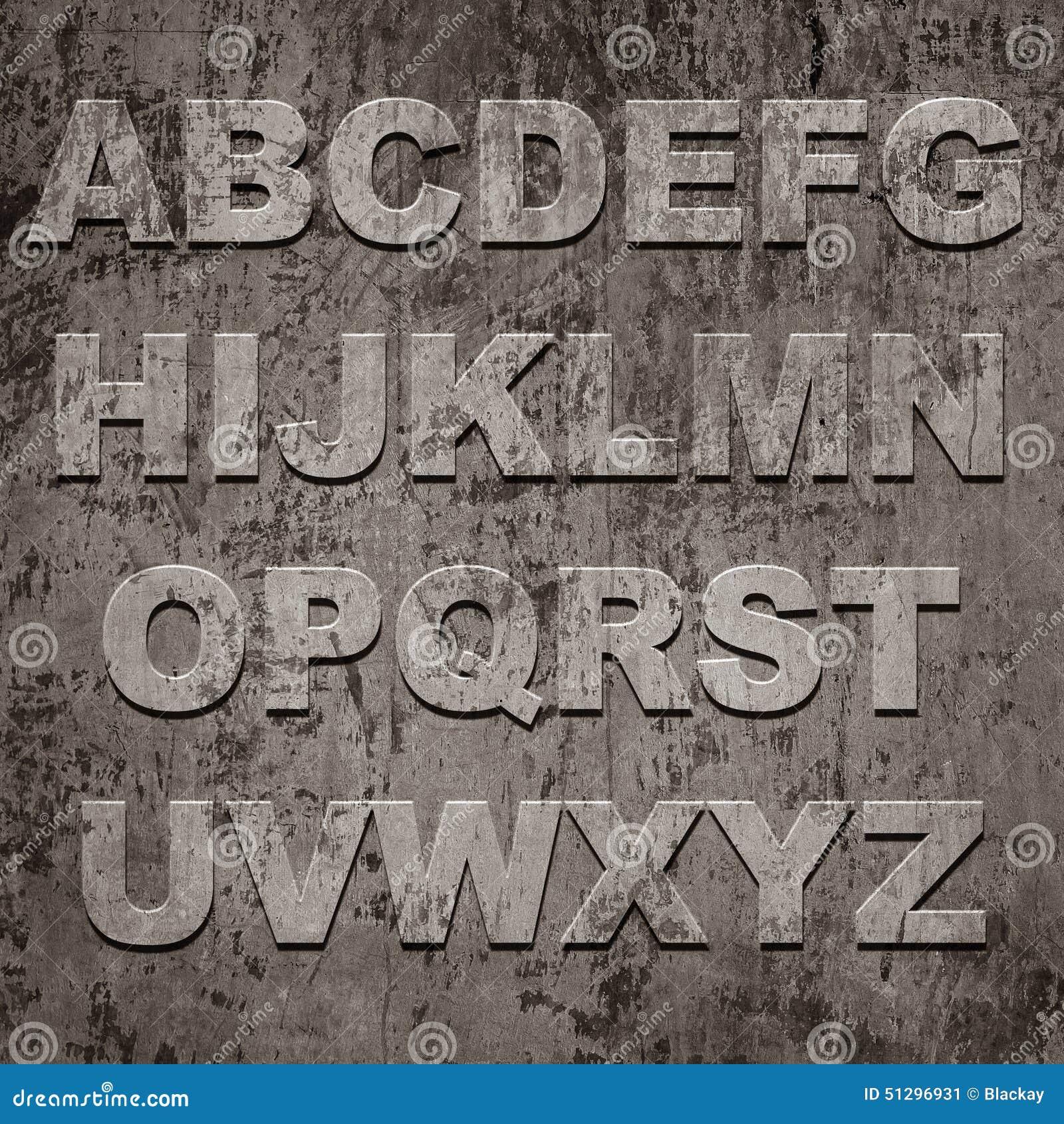 Latters Of Alphabet On Grunge Texture Stock Illustration - Image ...