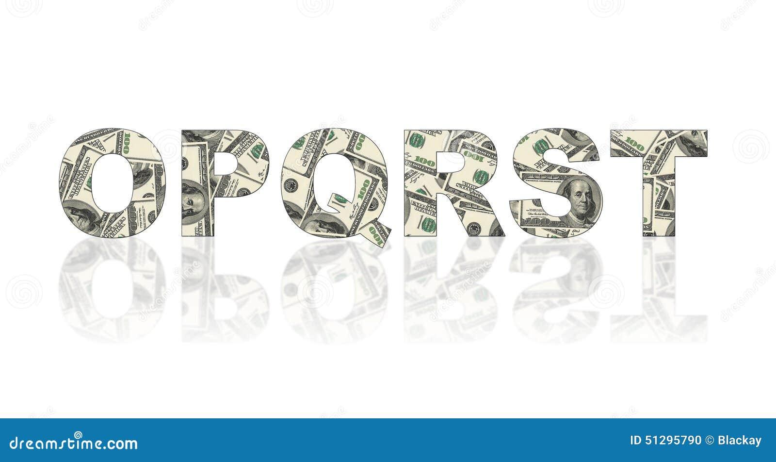 Latters Of Alphabet Made Of Dollars Stock Illustration - Image ...