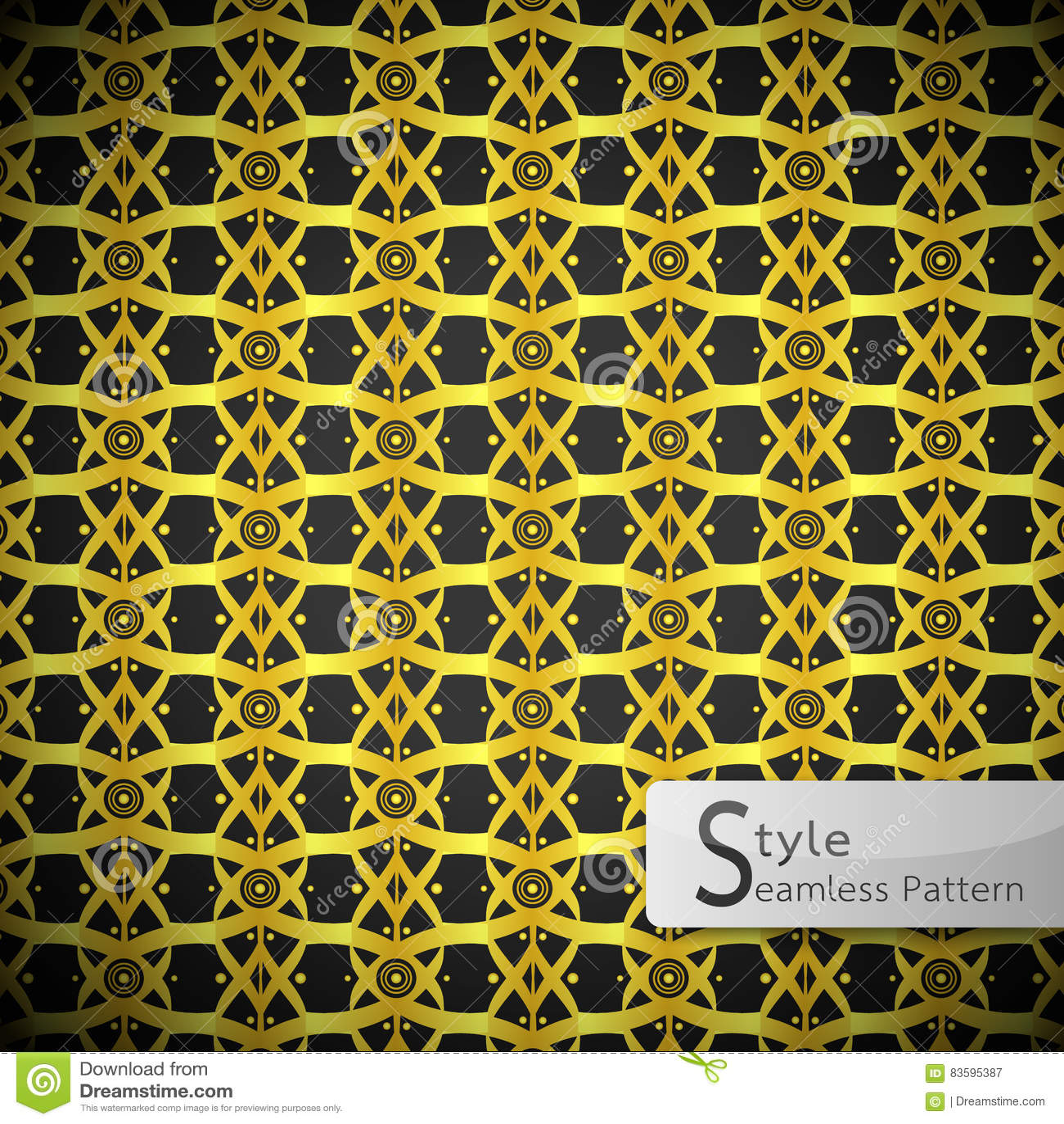 Lattice Lotus Flower Ribbon Gold Vintage Geometric Seamless Pattern