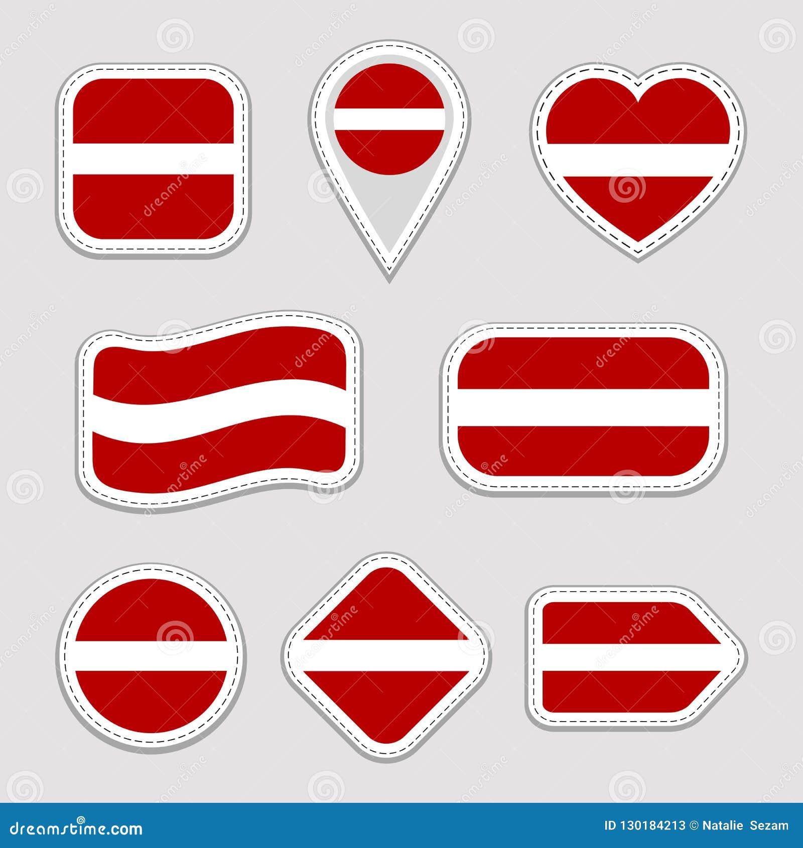 Latvia Flag Stickers Set Latvian National Symbols Badges Isolated