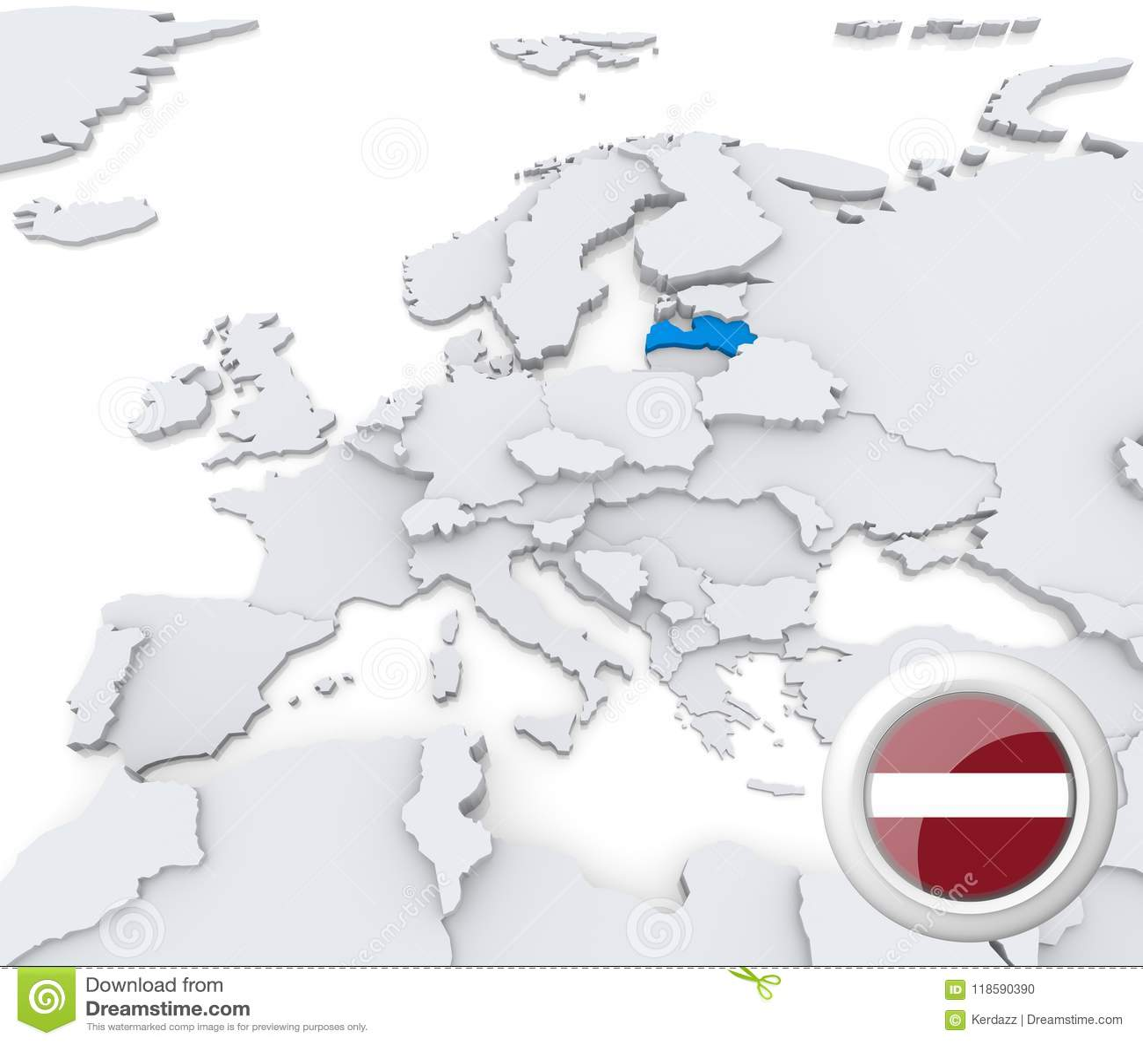 Latvia On Map Of Europe Stock Illustration Illustration Of Atlas 118590390