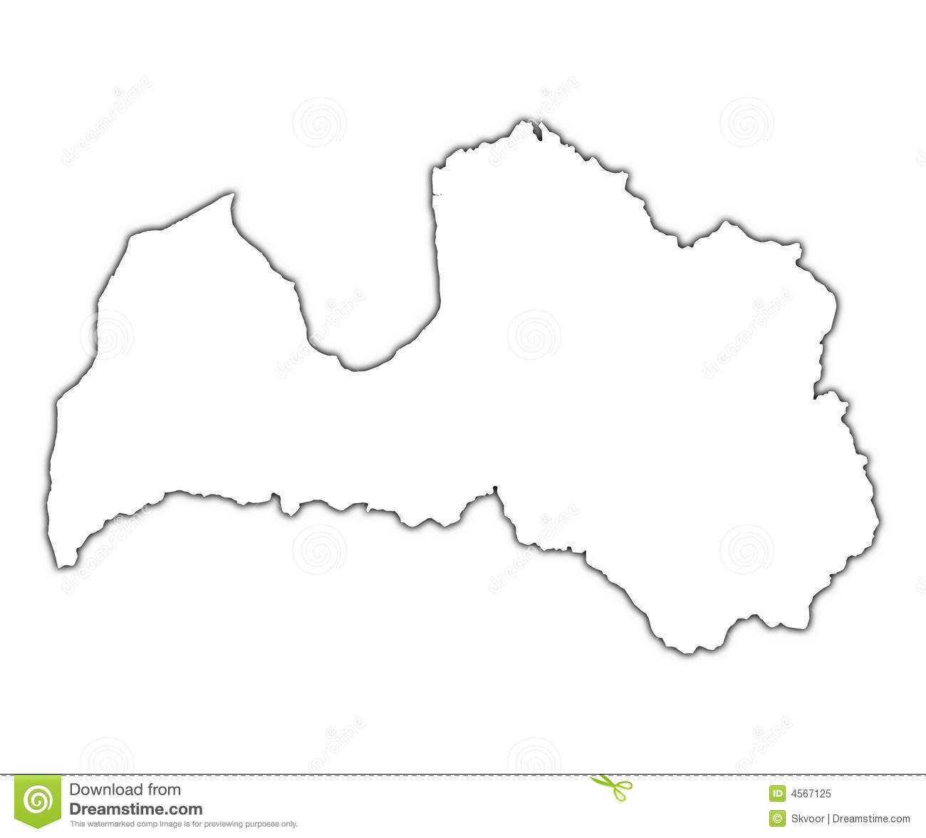 Latvia outline map with shadow. Detailed, Mercator projection.