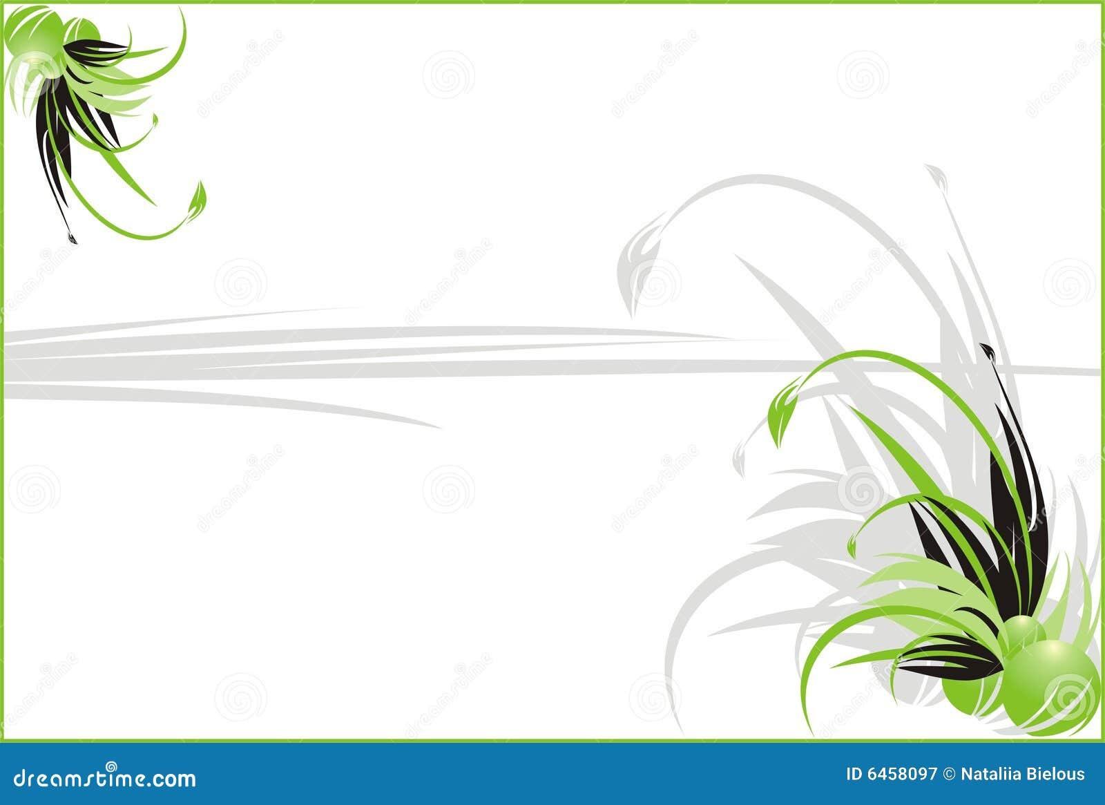 Laub. Dekorativer mit Blumenhintergrund für Karte