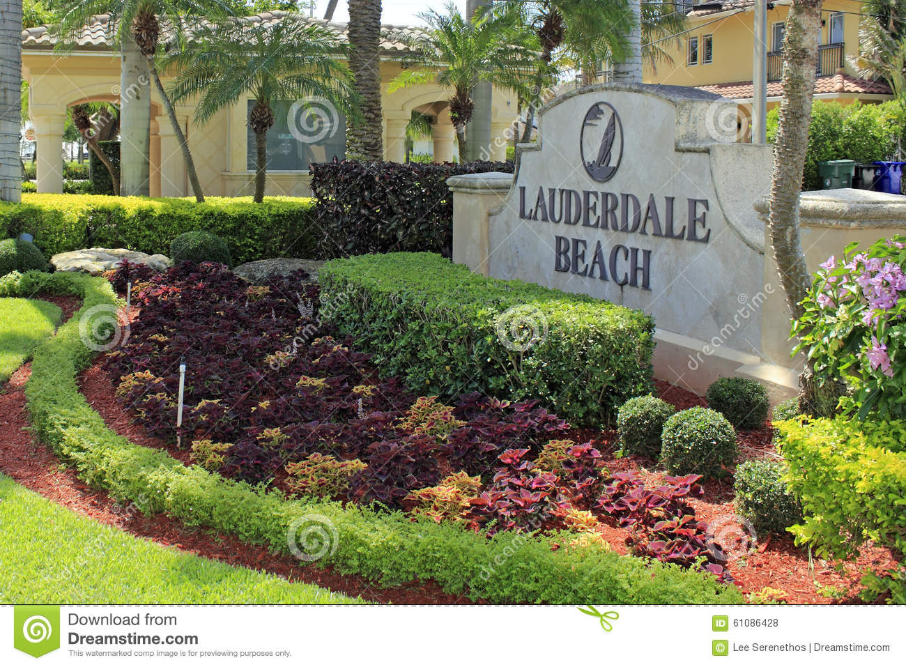 Lauderdale beach entry sign editorial image for Landscaping rocks fort lauderdale