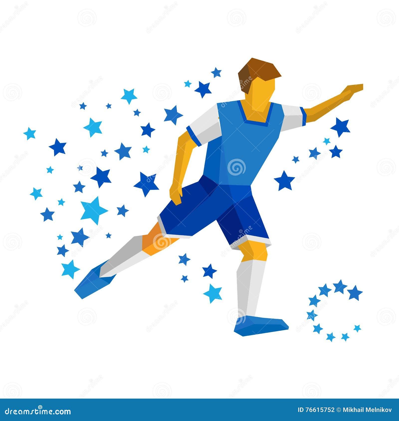 Laufender Fussballspieler Mit Ball Fussballvektorbild Flaches