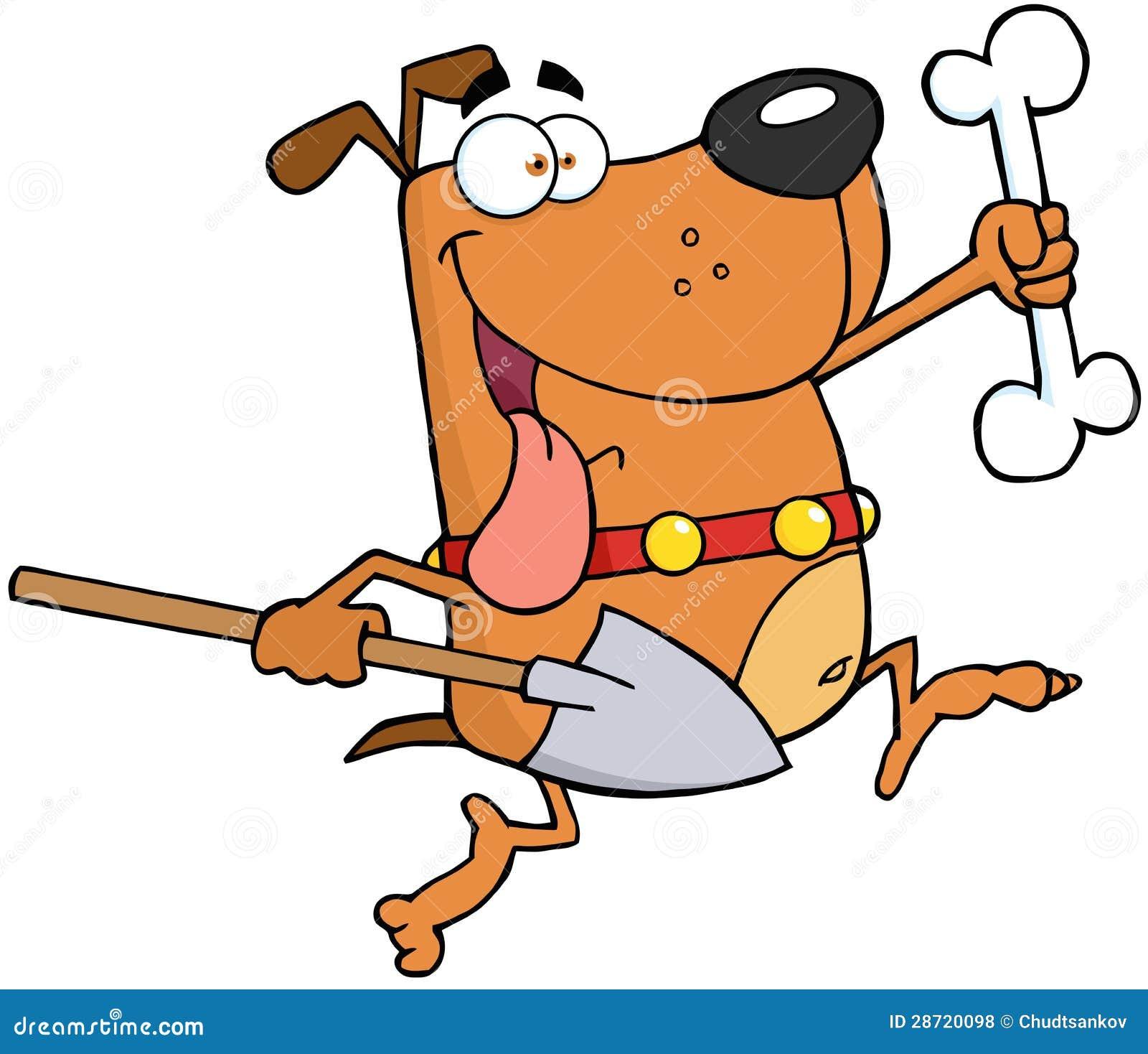 laufender hund mit einem knochen und einer schaufel