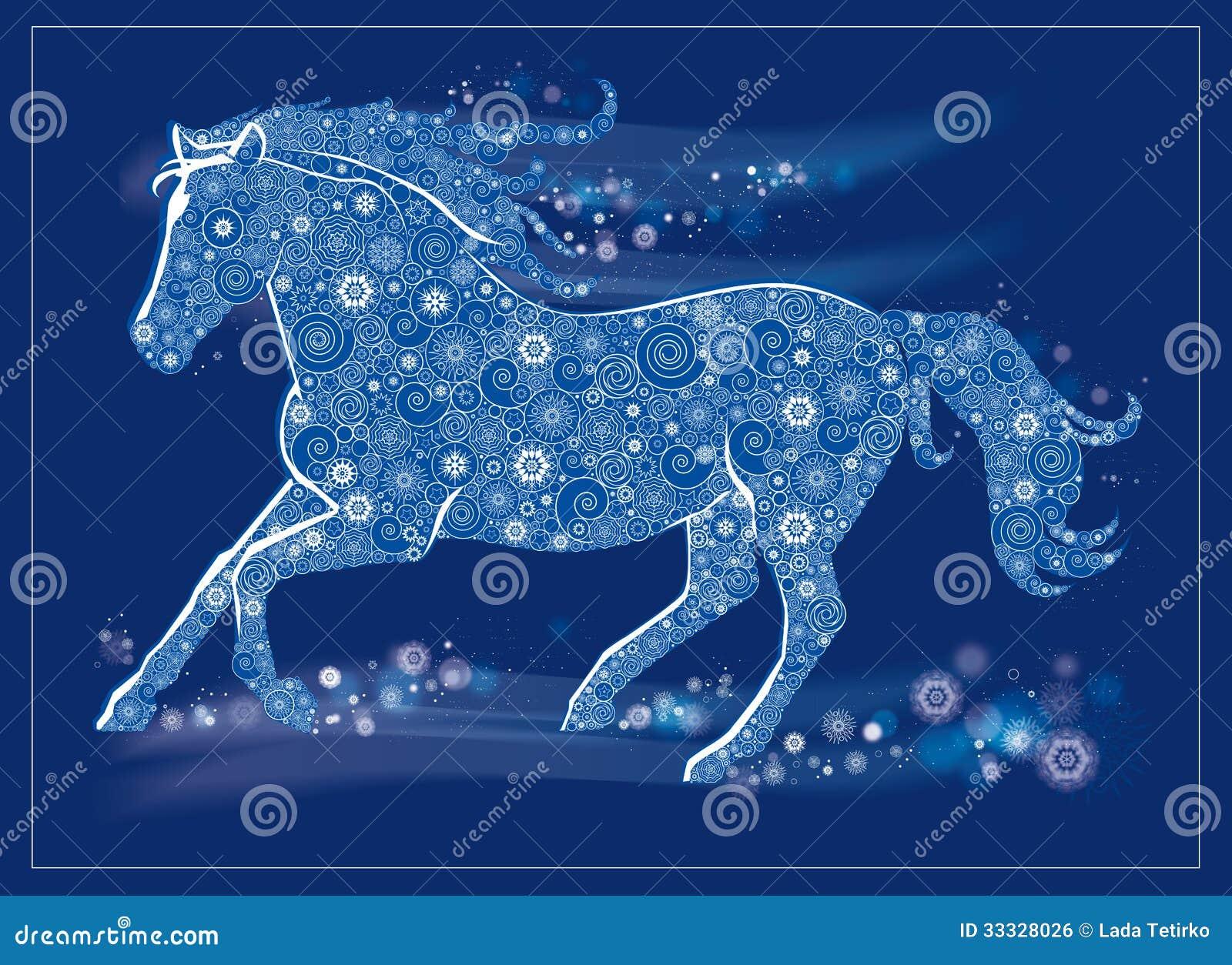 Frohe Weihnachten Pferd.Laufendes Pferd Vektor Abbildung Illustration Von Blau 33328026
