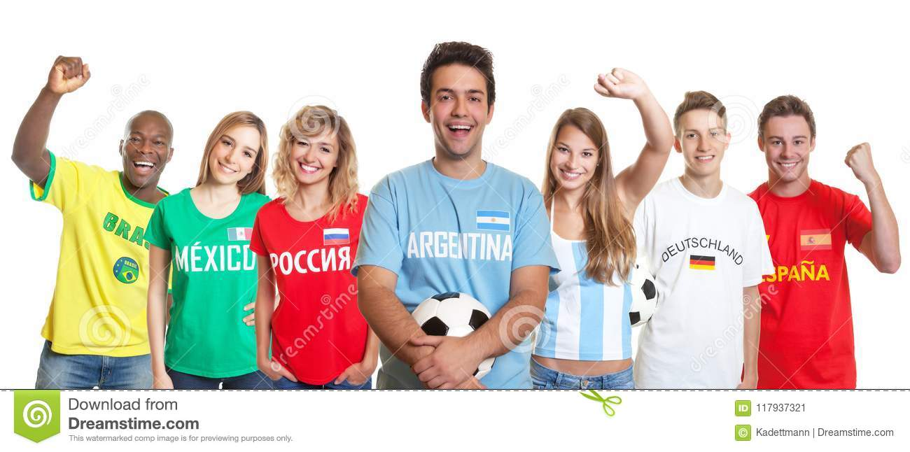 Laughing argentinian soccer supporter with ball and fans from ot
