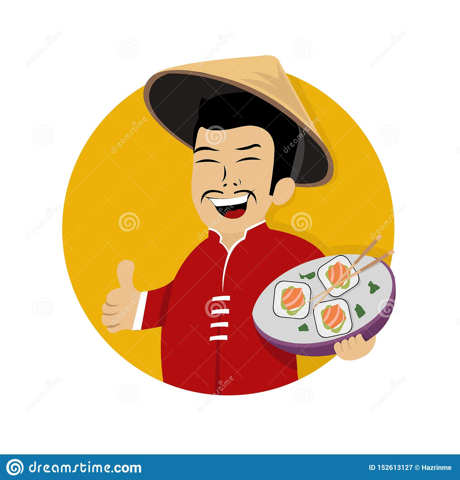 Laughing asian chef with sushi in hand