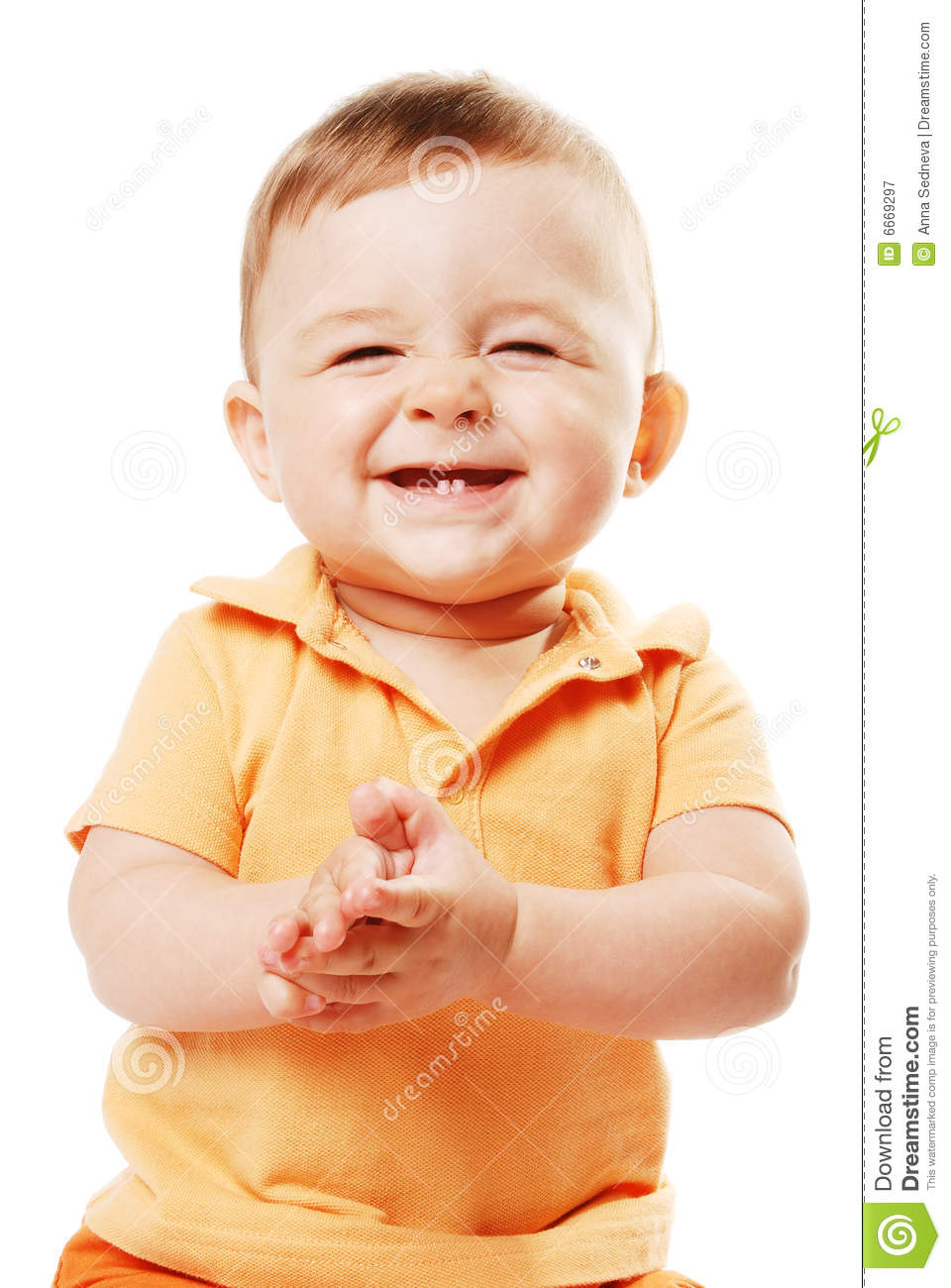 The Laughing Baby Stock Image Image Of Funny Hand Portrait 6669297