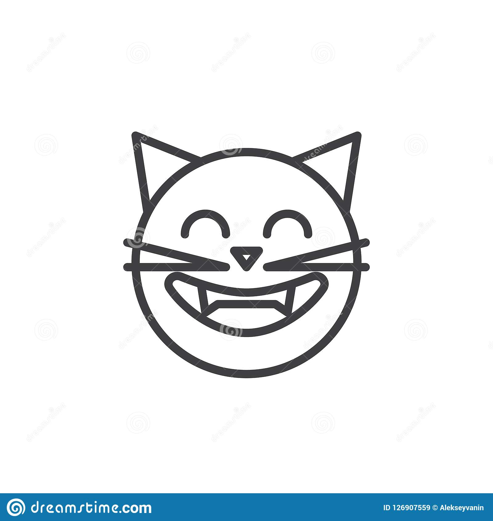 Laughing Cat Face Emoticon Outline Icon Stock Vector Illustration