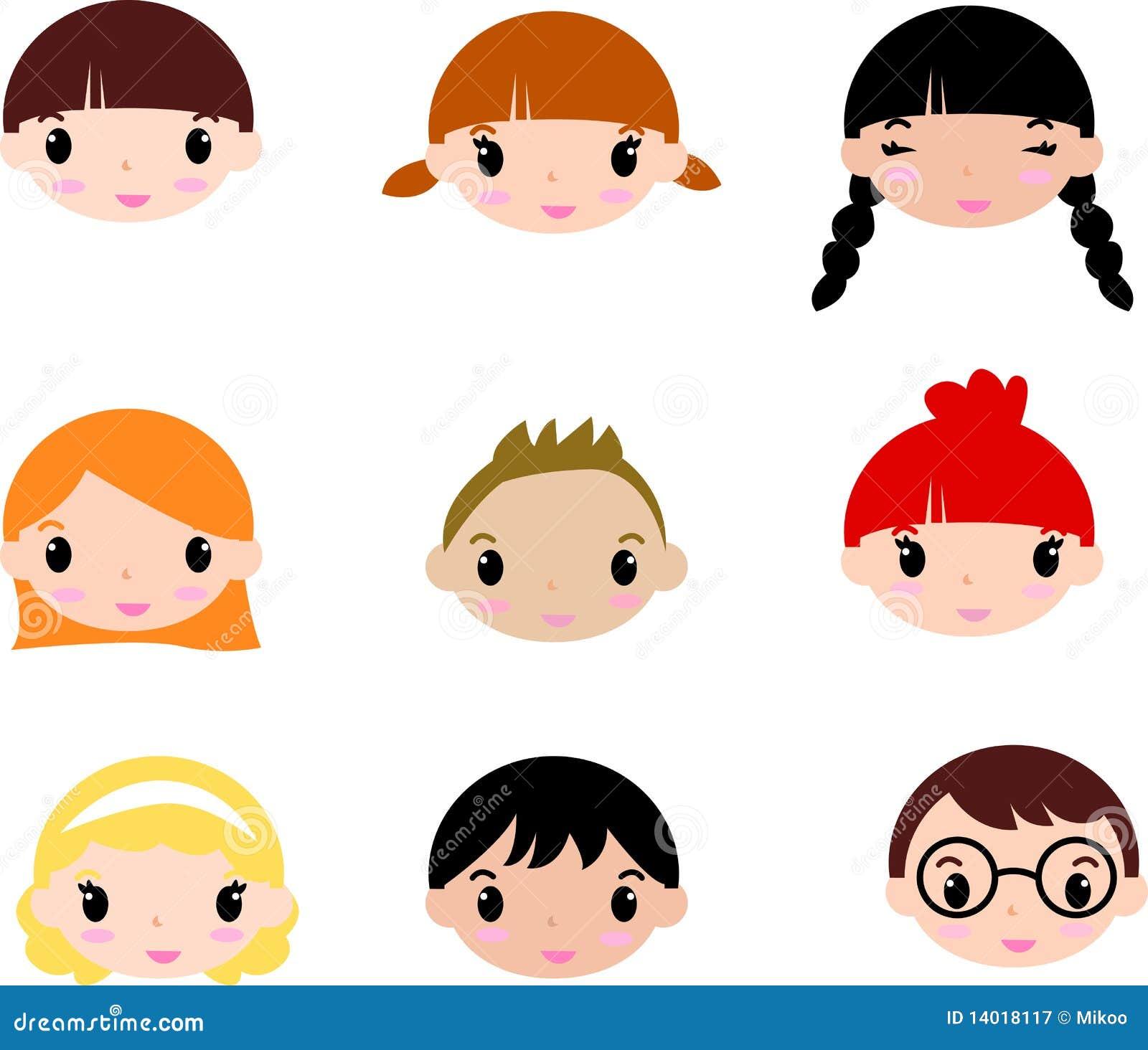Laughing Children's Faces. Set Stock Vector - Illustration ...