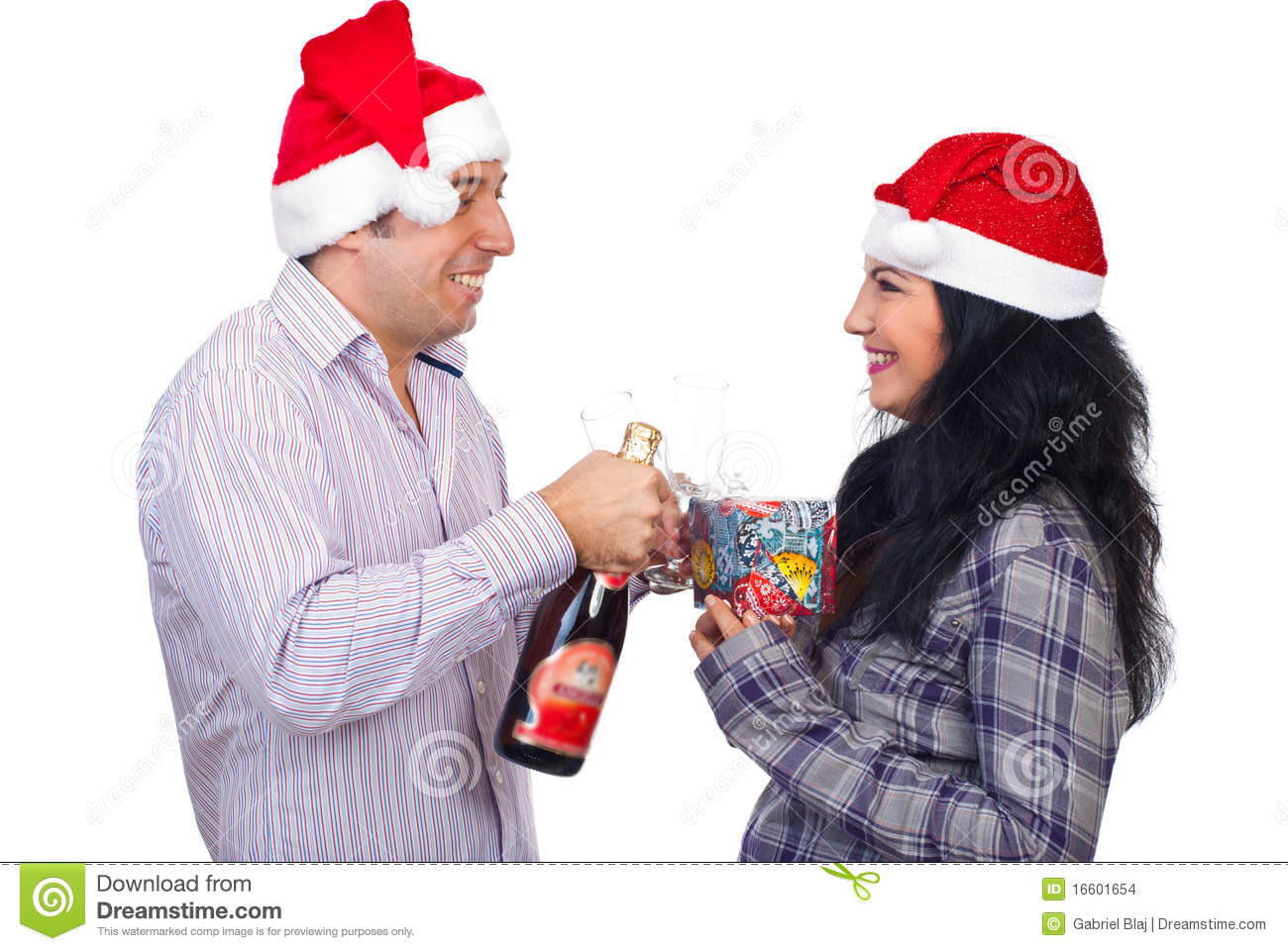 Laughing christmas couple having fun stock images image