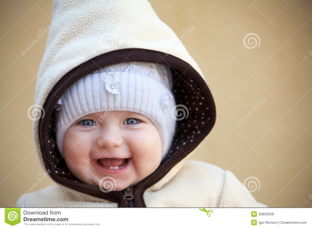laughing cute baby girl outside stock photo - image of female, blue