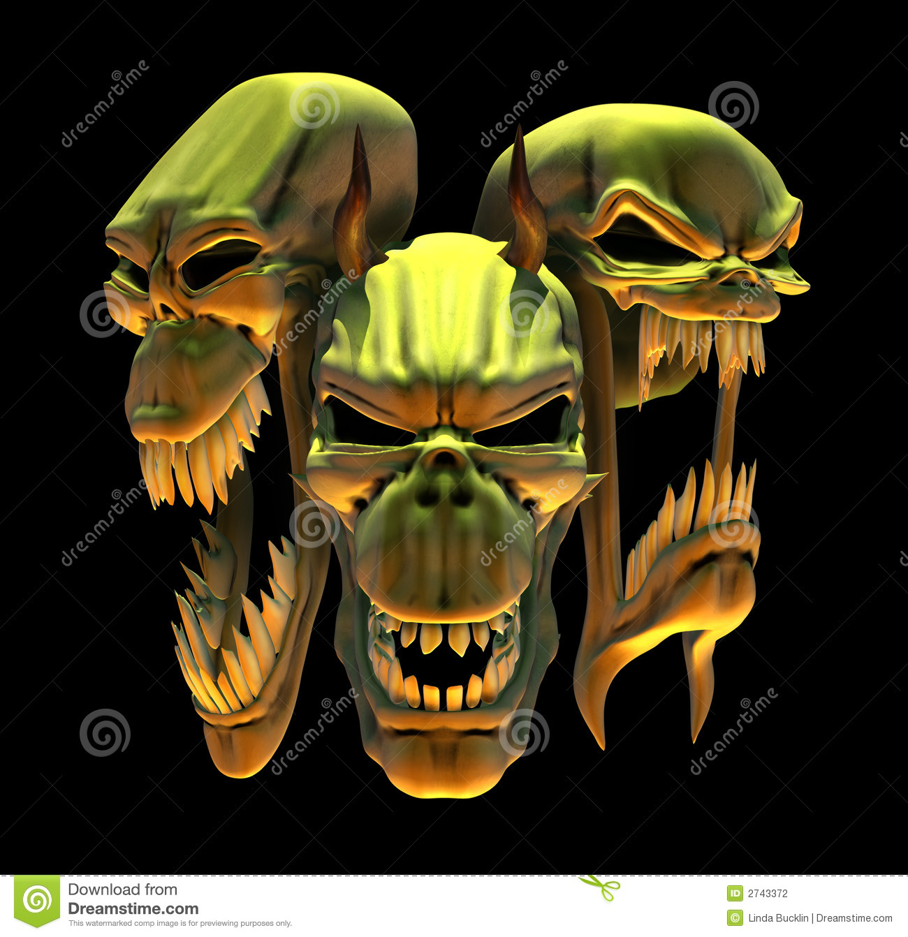Laughing Demon Skulls Stock Photography - Image: 2743372
