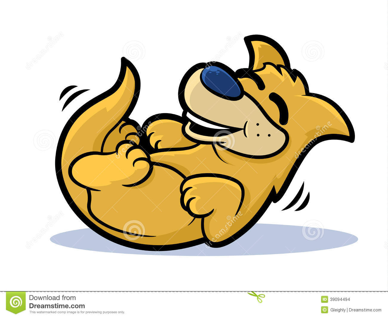 Cartoon dog on his back rolling and smiling.