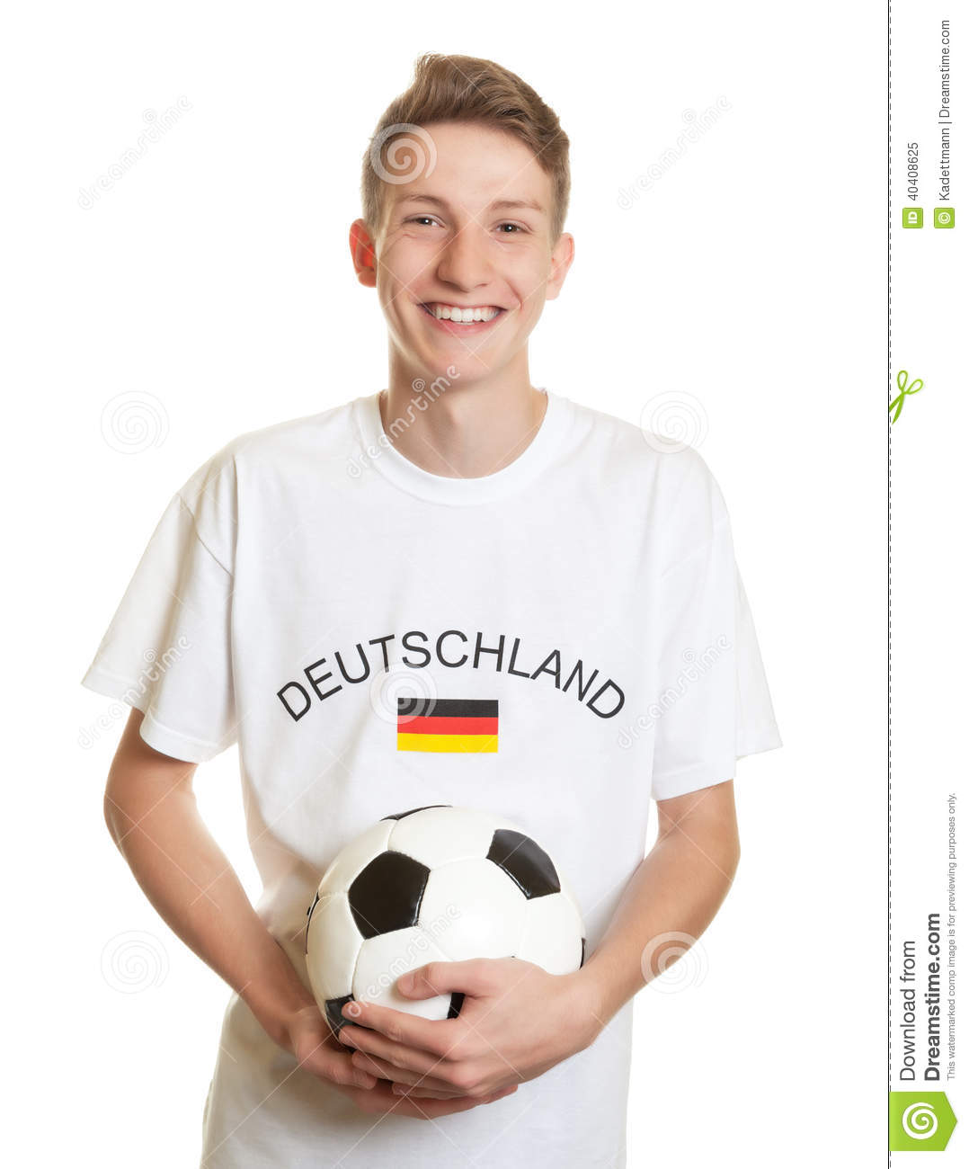 Download Laughing German Soccer Fan With Blond Hair And Ball Stock Image - Image of championship, match: 40408625