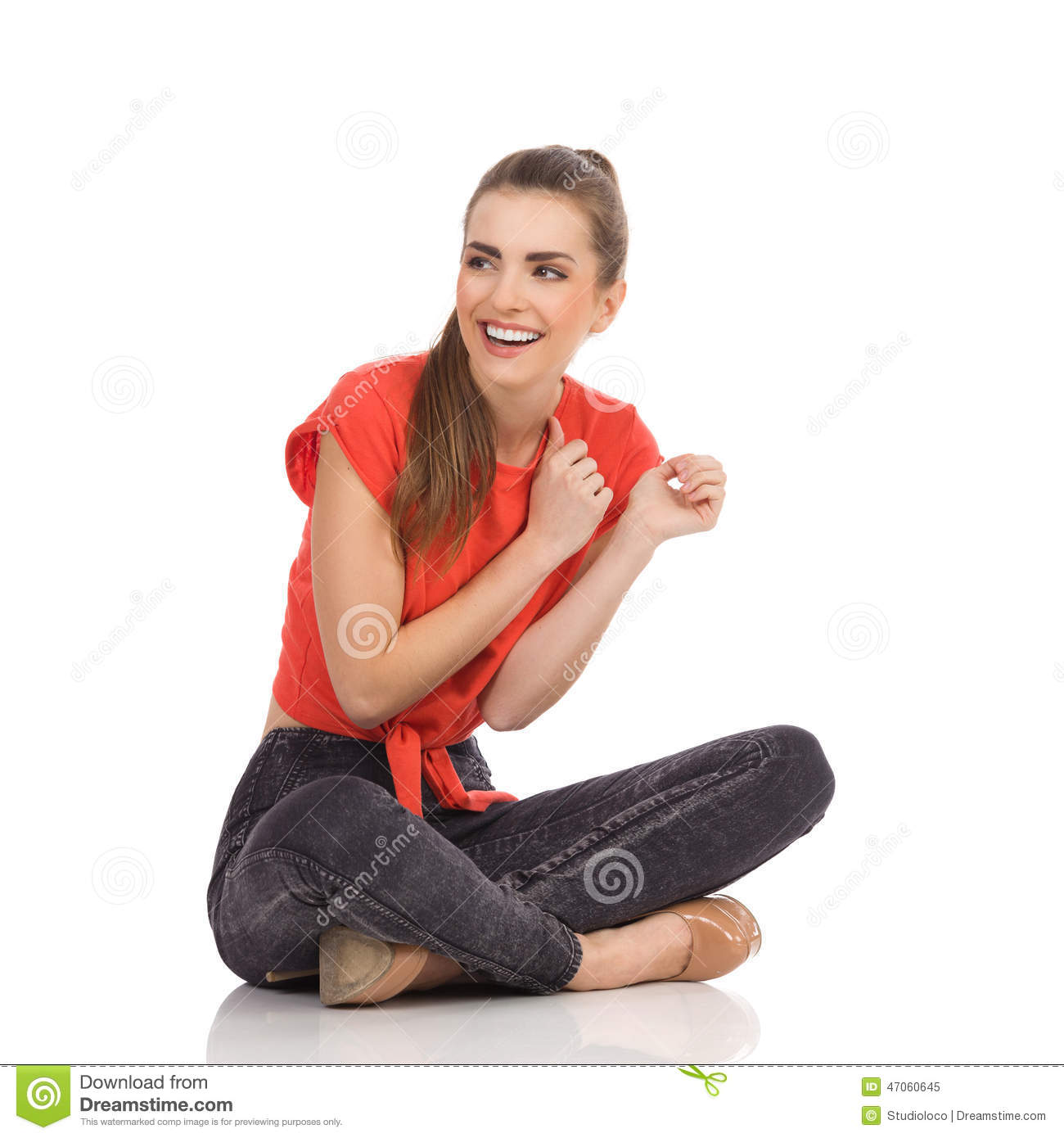 laughing girl sitting on the floor with legs crossed stock image image of carefree length. Black Bedroom Furniture Sets. Home Design Ideas