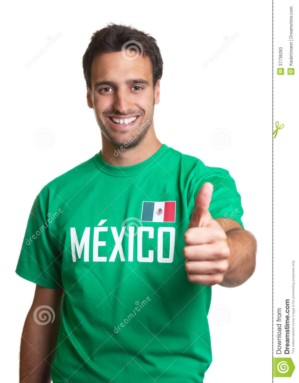 laughing guy in a mexican jersey showing thumb up stock image