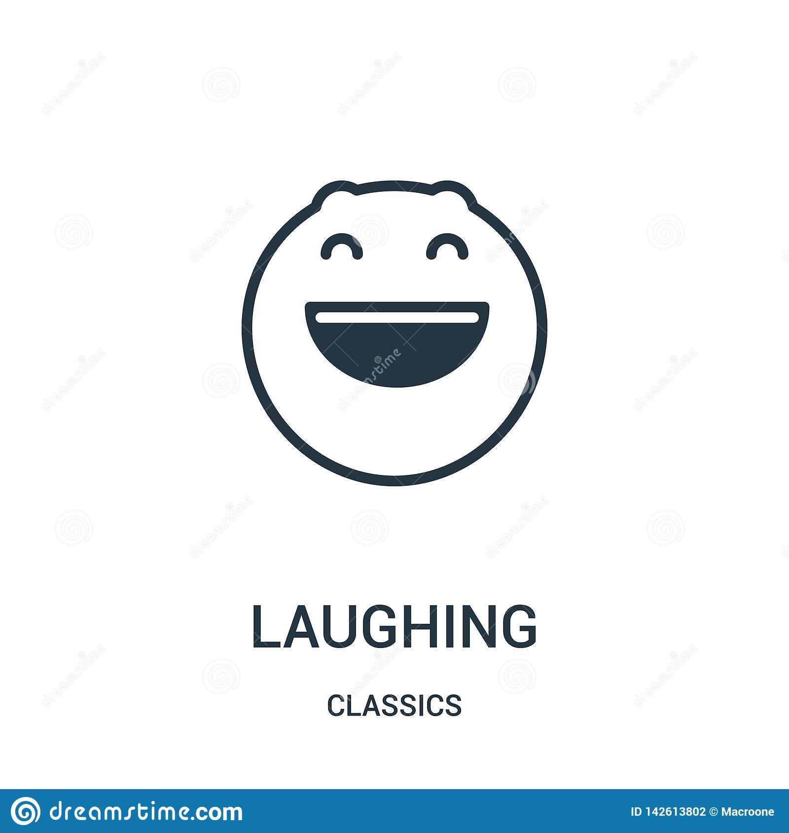 laughing icon vector from classics collection. Thin line laughing outline icon vector illustration. Linear symbol