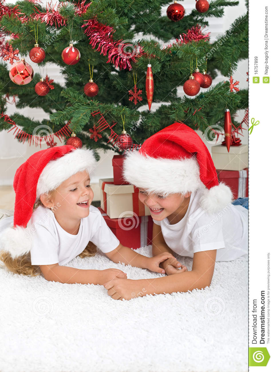 Laughing kids in front of the christmas tree royalty free