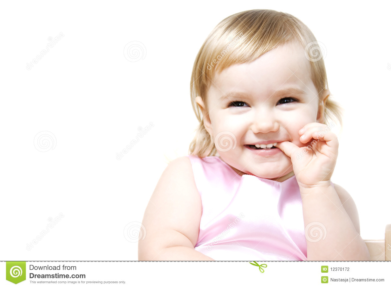 Little Beautiful Girl Holding Finger In Mouth Stock ...