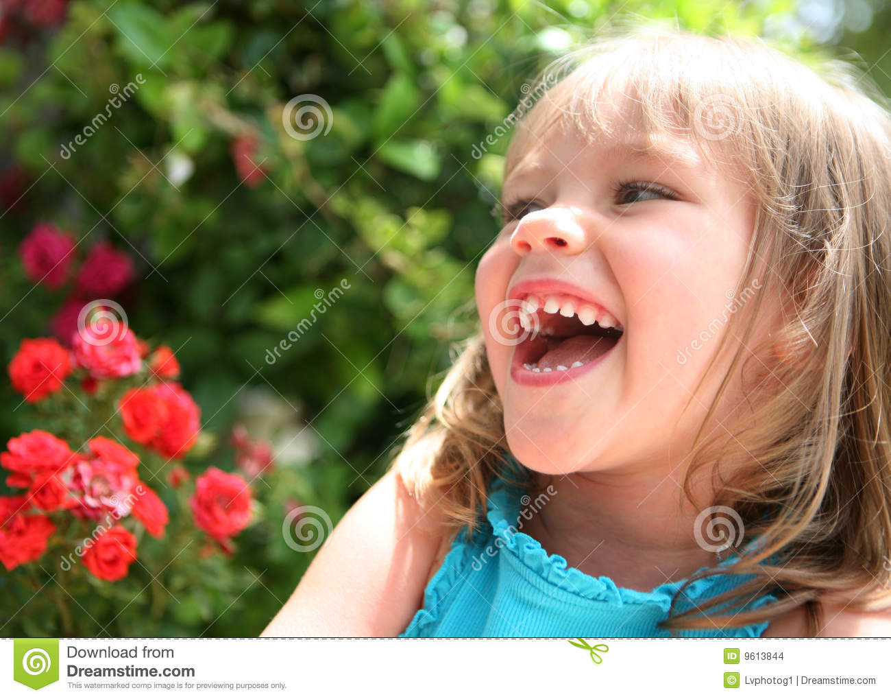 Laughing Little Girl Near Red Flowers Stock Photo Image
