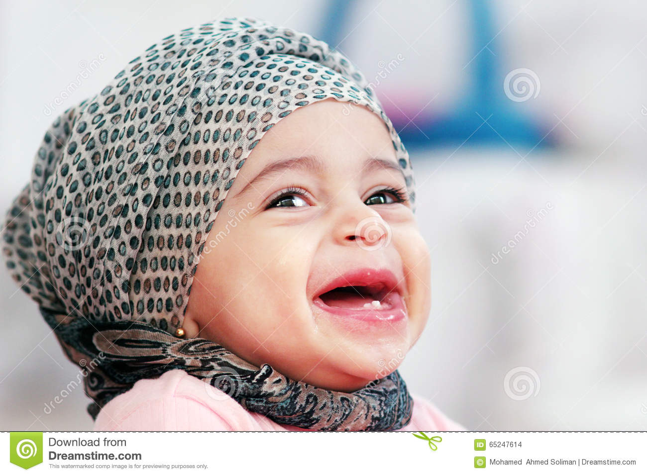 laughing arab muslim baby girl stock photo - image of cute, girl
