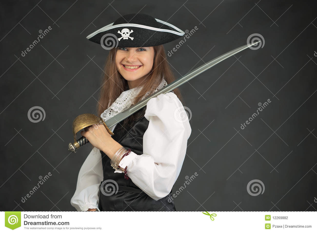 Laughing pirate in hat armed with sabre