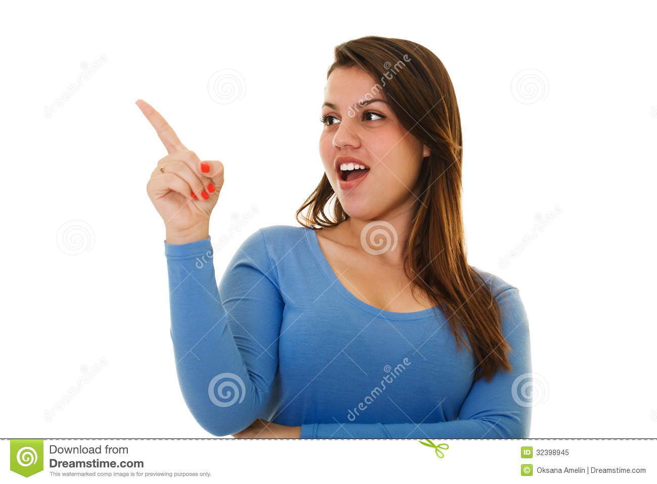 laughing and pointing young woman royalty free stock photo