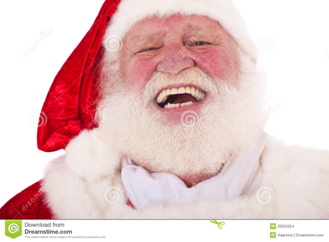 Portrait of a laughing Santa Claus in authentic look. All on white ...