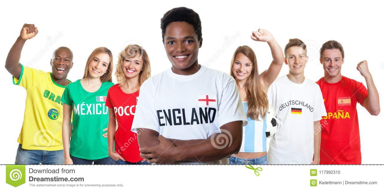 Laughing soccer supporter from England with fans from other countries