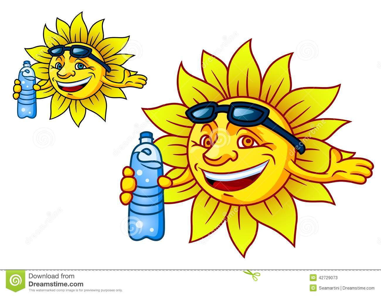 Laughing Tropical Sun With Bottled Water Stock Vector Image 42729073