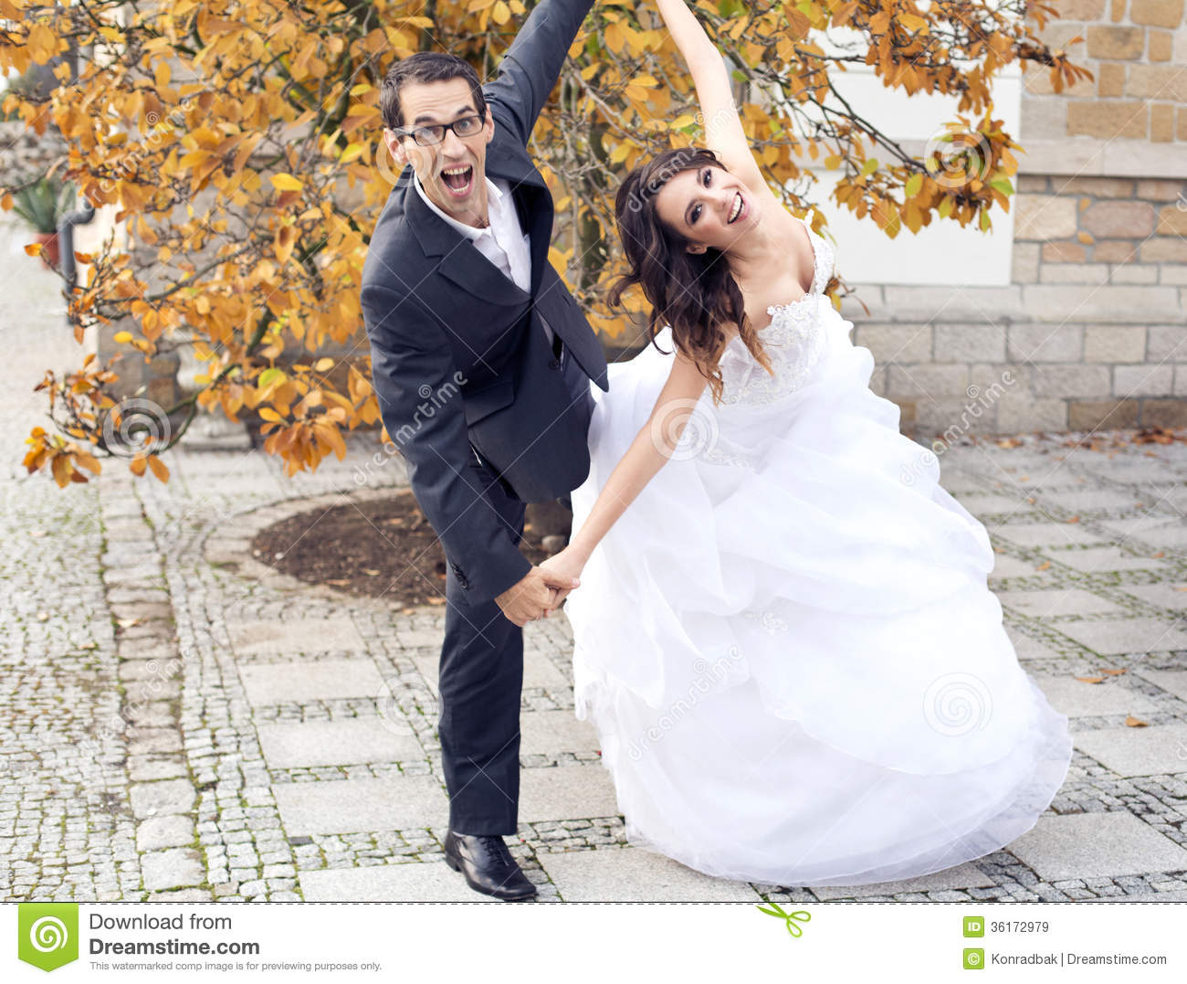 laughing wedding couple in funny pose stock image image of hand female 36172979. Black Bedroom Furniture Sets. Home Design Ideas