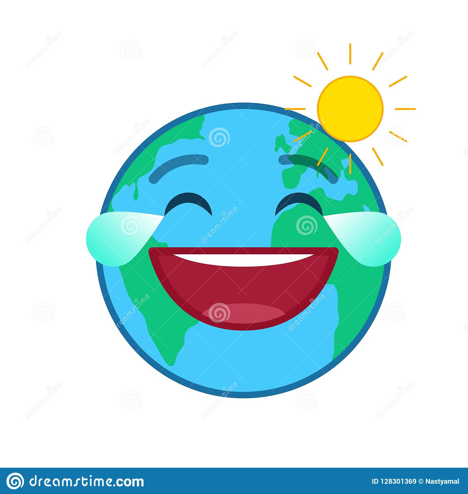 Laughing World Globe Isolated Emoticon Stock Vector