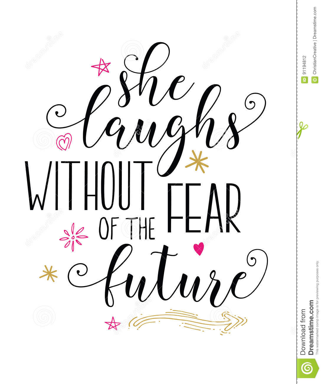 She Laughs In The Danger Of Fear: She Laughs Without Fear Of The Future Stock Vector