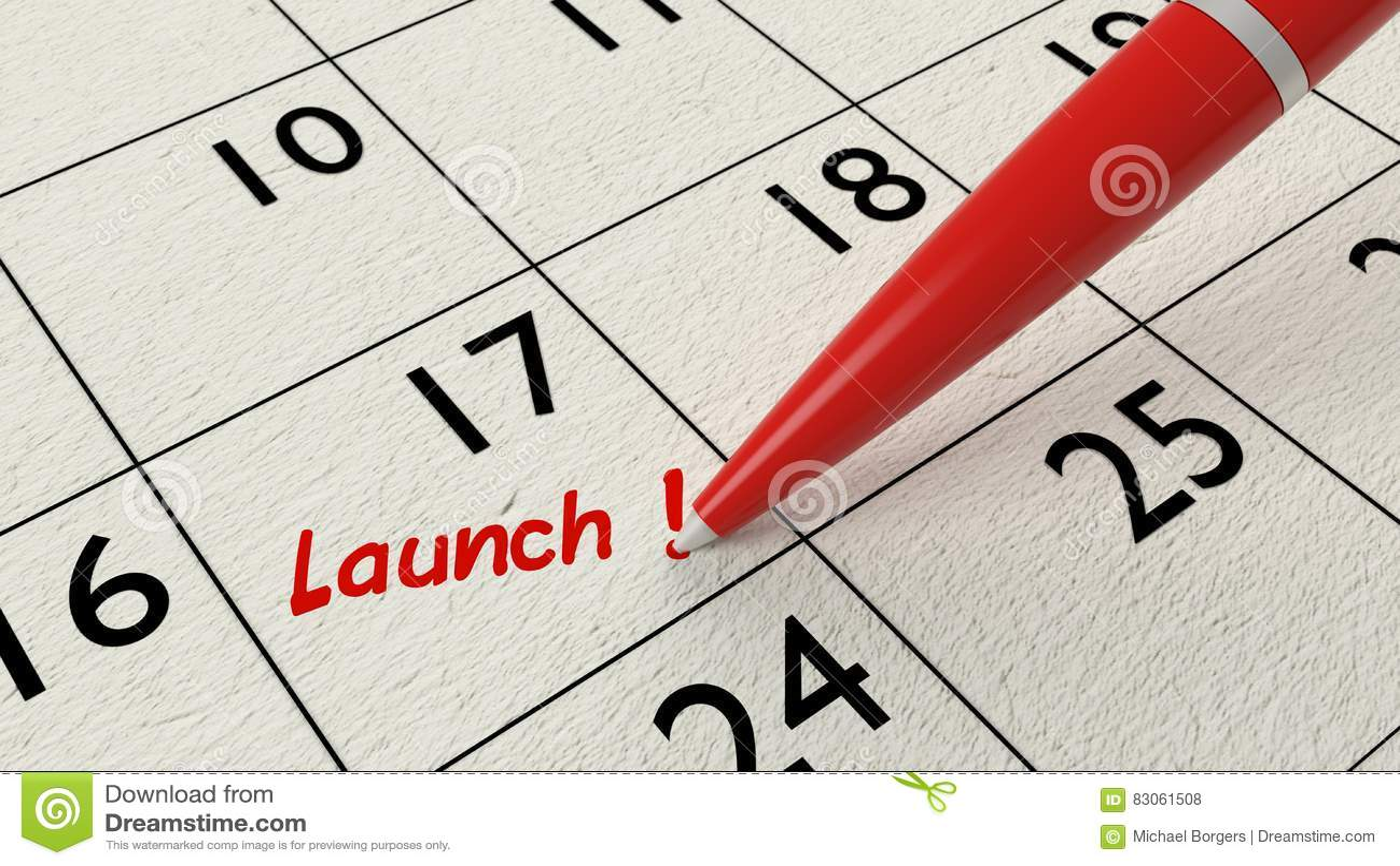 79a140da849 Launch Calendar Entry Red Pen Stock Illustration - Illustration of ...