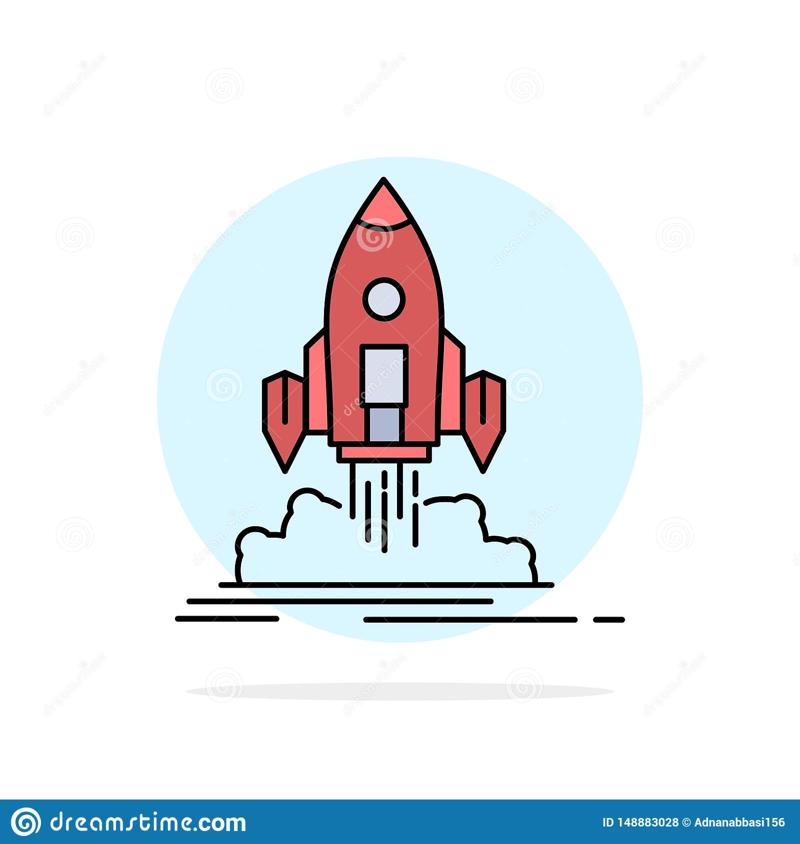 Launch, mission, shuttle, startup, publish Flat Color Icon Vector