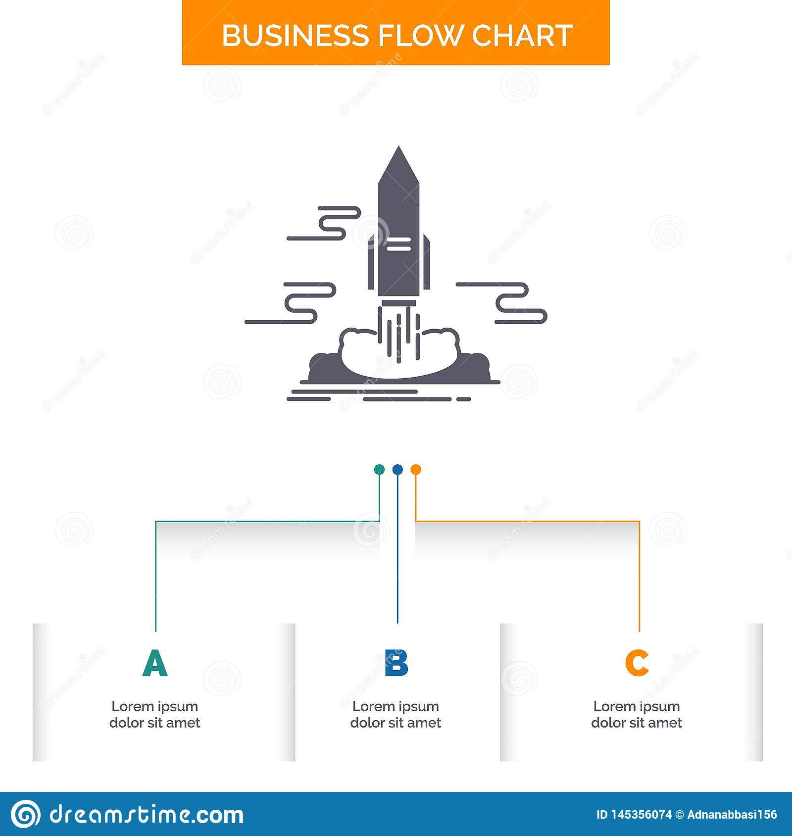 launch, Publish, App, shuttle, space Business Flow Chart Design with 3 Steps. Glyph Icon For Presentation Background Template