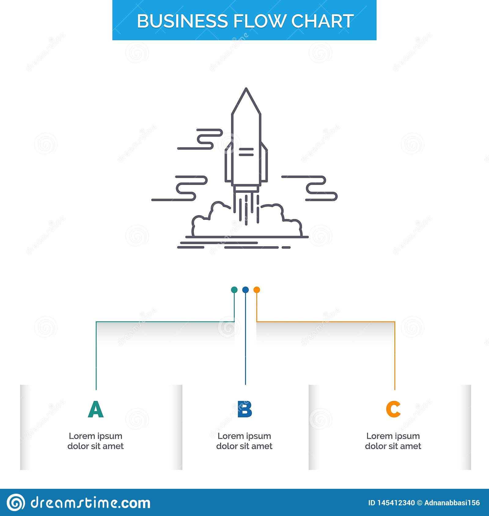 launch, Publish, App, shuttle, space Business Flow Chart Design with 3 Steps. Line Icon For Presentation Background Template Place