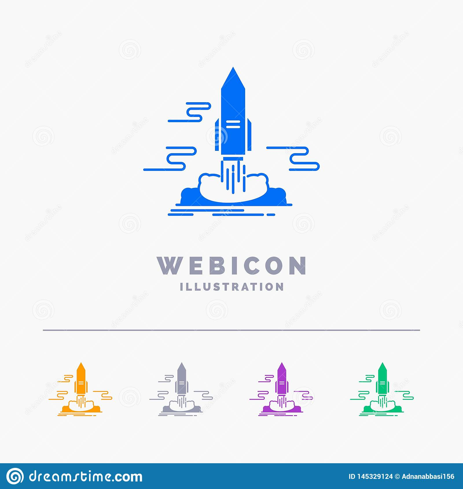 launch, Publish, App, shuttle, space 5 Color Glyph Web Icon Template isolated on white. Vector illustration