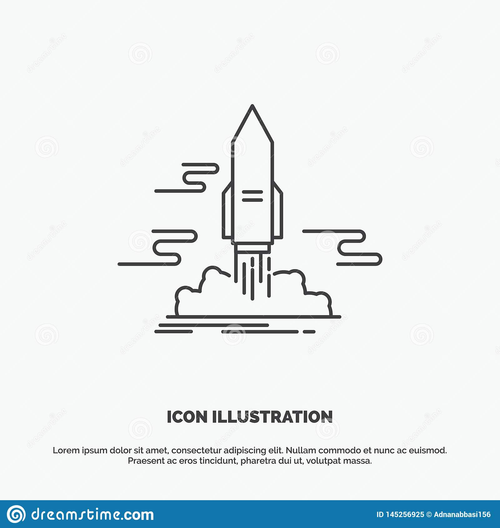 launch, Publish, App, shuttle, space Icon. Line vector gray symbol for UI and UX, website or mobile application