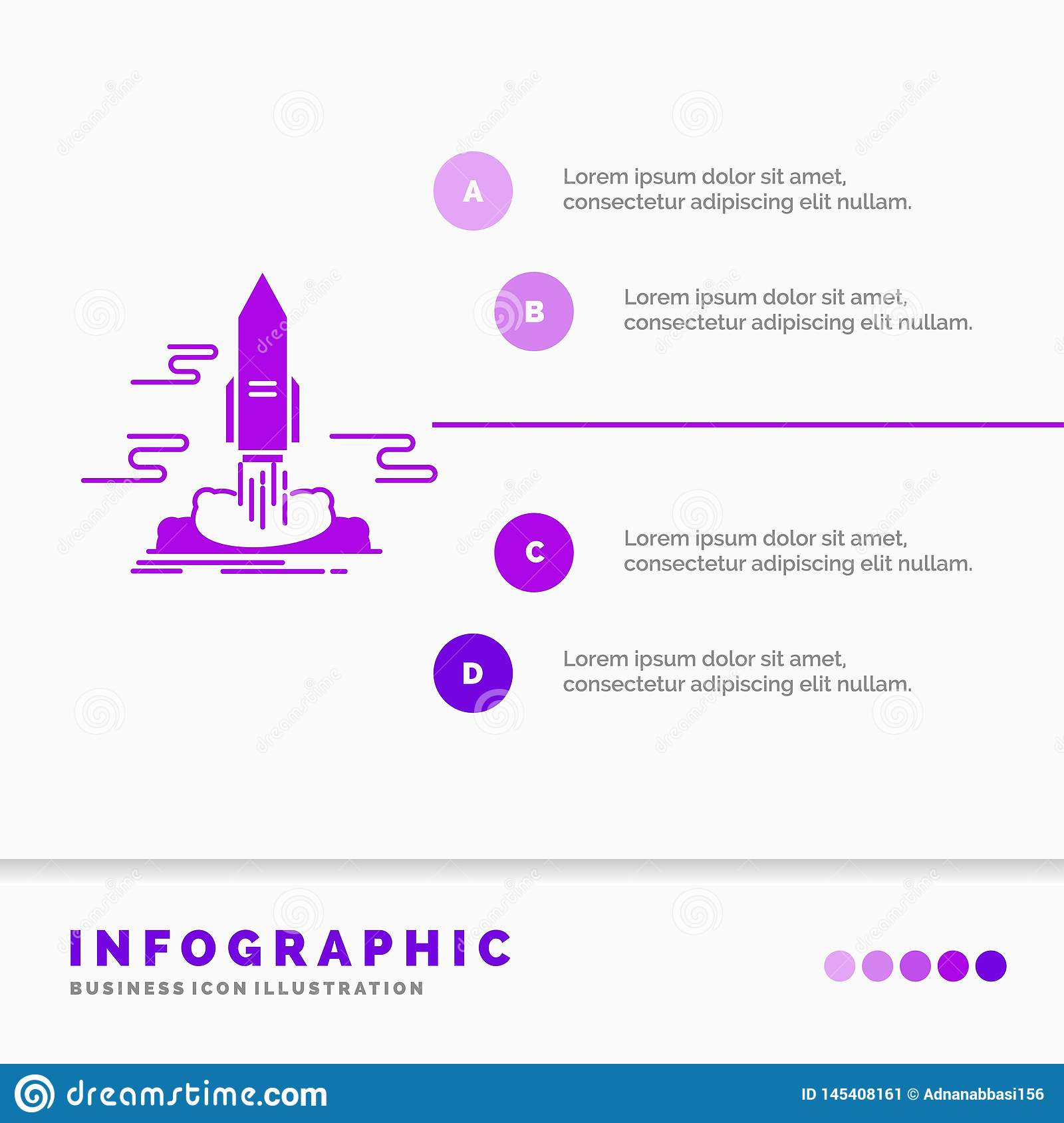 launch, Publish, App, shuttle, space Infographics Template for Website and Presentation. GLyph Purple icon infographic style
