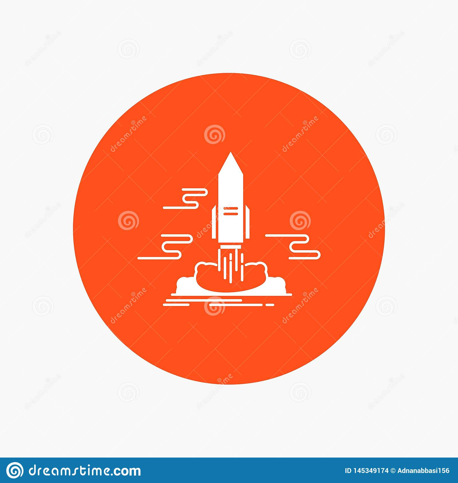 launch, Publish, App, shuttle, space White Glyph Icon in Circle. Vector Button illustration