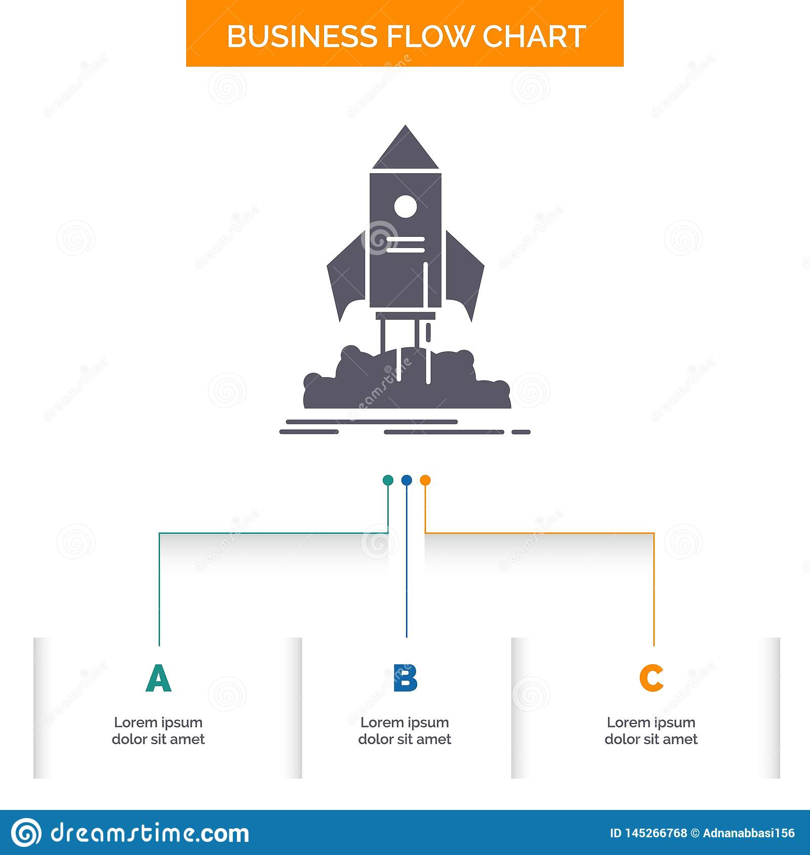 launch, startup, ship, shuttle, mission Business Flow Chart Design with 3 Steps. Glyph Icon For Presentation Background Template