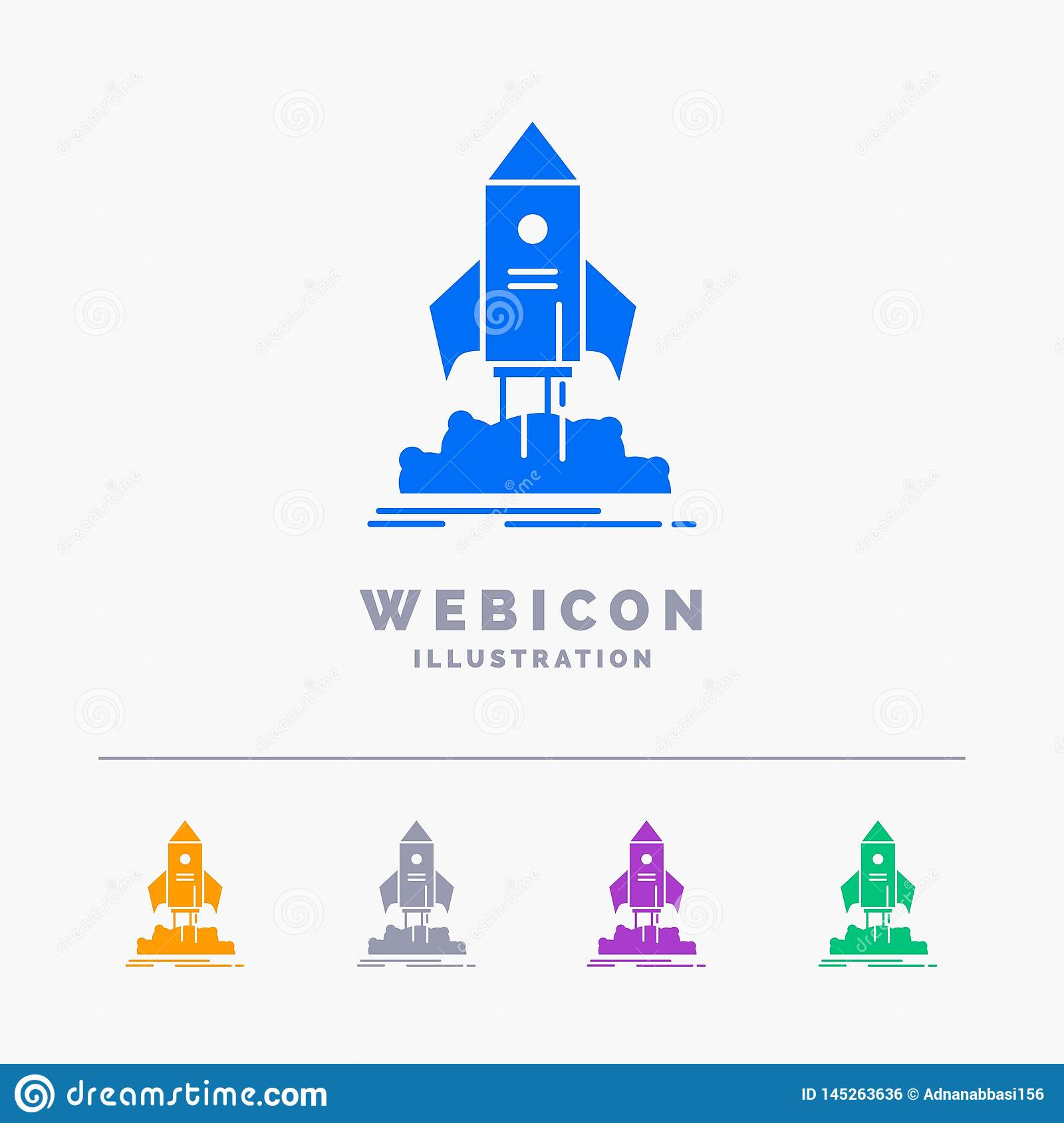 launch, startup, ship, shuttle, mission 5 Color Glyph Web Icon Template isolated on white. Vector illustration