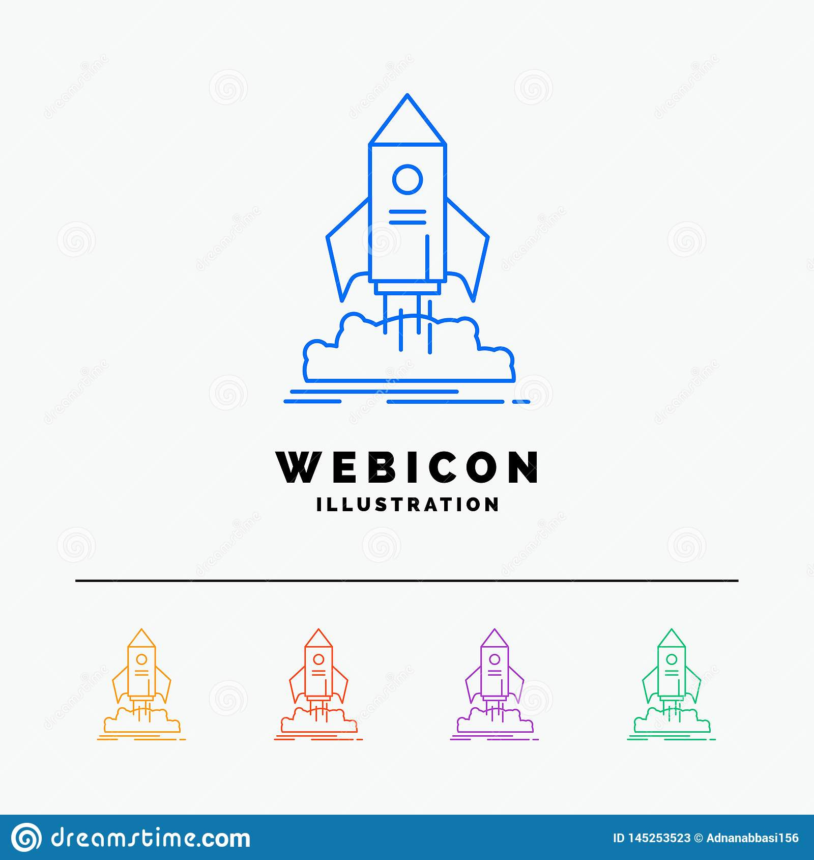 launch, startup, ship, shuttle, mission 5 Color Line Web Icon Template isolated on white. Vector illustration
